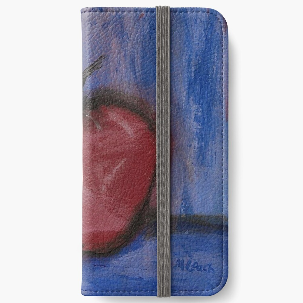 Big Red Apple ln Denim iPhone Wallet