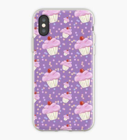 Purple Cupcake pattern iPhone Case