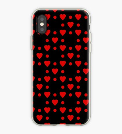 Red hearts and dots pattern iPhone Case