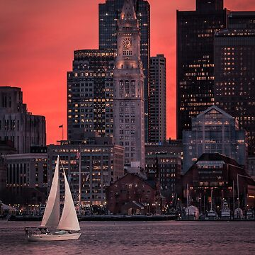 Red sunset on Boston Harbor by mattmacpherson