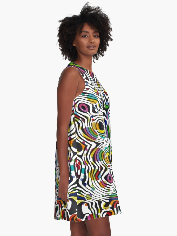 Alternate view of pattern, abstract, art, decoration, illustration, design, textile, shape, scribble A-Line Dress