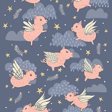 When Pigs Fly on Dark Blue by latheandquill