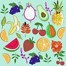 Cute Tropical Fruit Pattern Kawaii Fresh Happy by lunaelizabeth