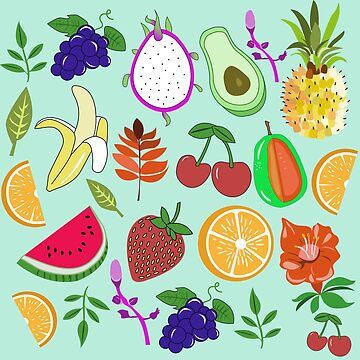 Nettes tropisches Frucht-Muster Kawaii frisch glücklich von lunaelizabeth