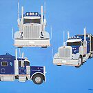 Blue Peterbilt  by Joann Barrack