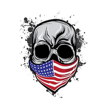 It's A Unique Design Of A Braincase Skull With An American Flag Scarf On T-shirt Design Gray Tones by Customdesign200