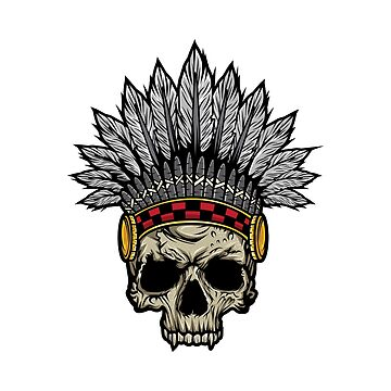 Indian Warrior Skull Is Ready For Battle With His Feathered Headdress And War Paint T-shirt Design by Customdesign200
