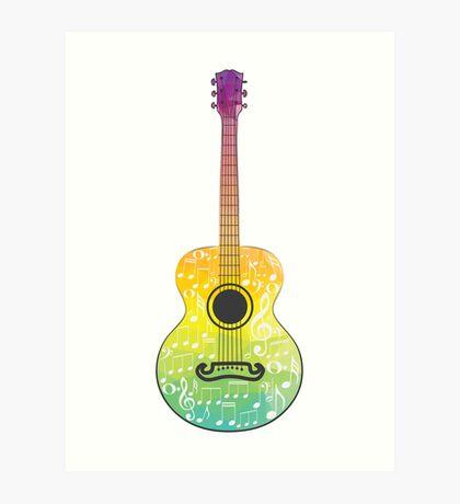 Polygonale Gitarre Kunstdruck