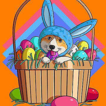 Easter Eggs Corgi Bunny  by Nosek1ng