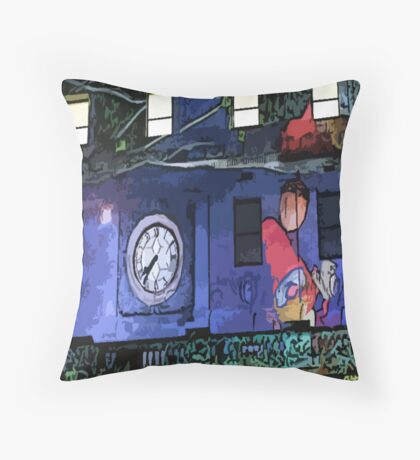 Gnomes in the Clocktower Throw Pillow