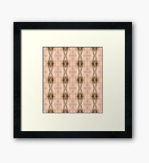 brown, beige, symmetry, abstract, design, pattern, art, decoration, wicker, vertical, textured, in a row, seamless pattern, textile, backgrounds Framed Print