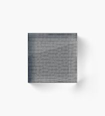 pattern, design, abstract, fiber, weaving, cotton, gray, textile, old, luxury, net, horizontal, textured, backgrounds, covering, old-fashioned, retro style, upper class Acrylic Block