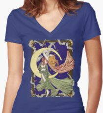 Skyclad October Night Women's Fitted V-Neck T-Shirt