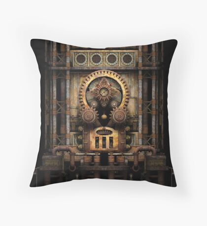 Infernal Steampunk Vintage Machine #3 Throw Pillow