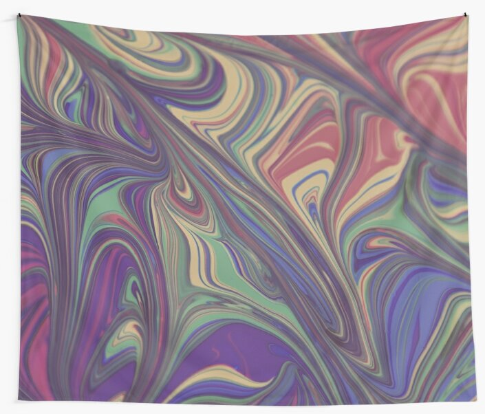 Psychedelic Lines Over the Rainbow Liquid Effect Wall Tapestry