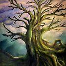Anstrich einer bunten Landschaft mit einem alten großen Baum von unikatdesign