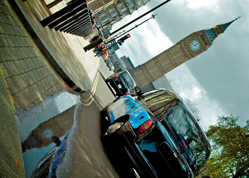 Big Ben in Puddle with Black Cab by doug88888