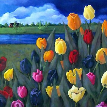 Dutch Tulips, Hand Painted Flowers, Holland, Windmill by Joyce