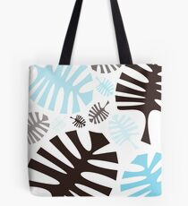 Black and blue tropical leaves Tote Bag