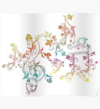 Blumenmusiknoten 2 Poster