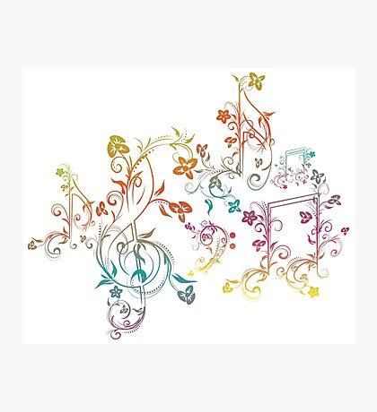 Blumenmusiknoten 2 Fotodruck