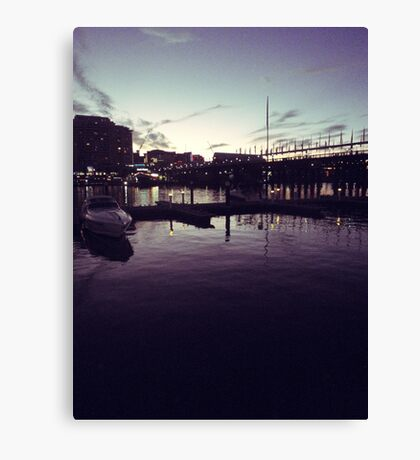 Night at the harbour Canvas Print