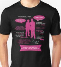 Stargate SG-1 - Sam & Jack quotes (Pink/White design) Unisex T-Shirt