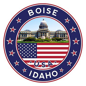 Boise, Idaho, Boise sticker (with photo, version 2), Boise tshirt, by Alma-Studio