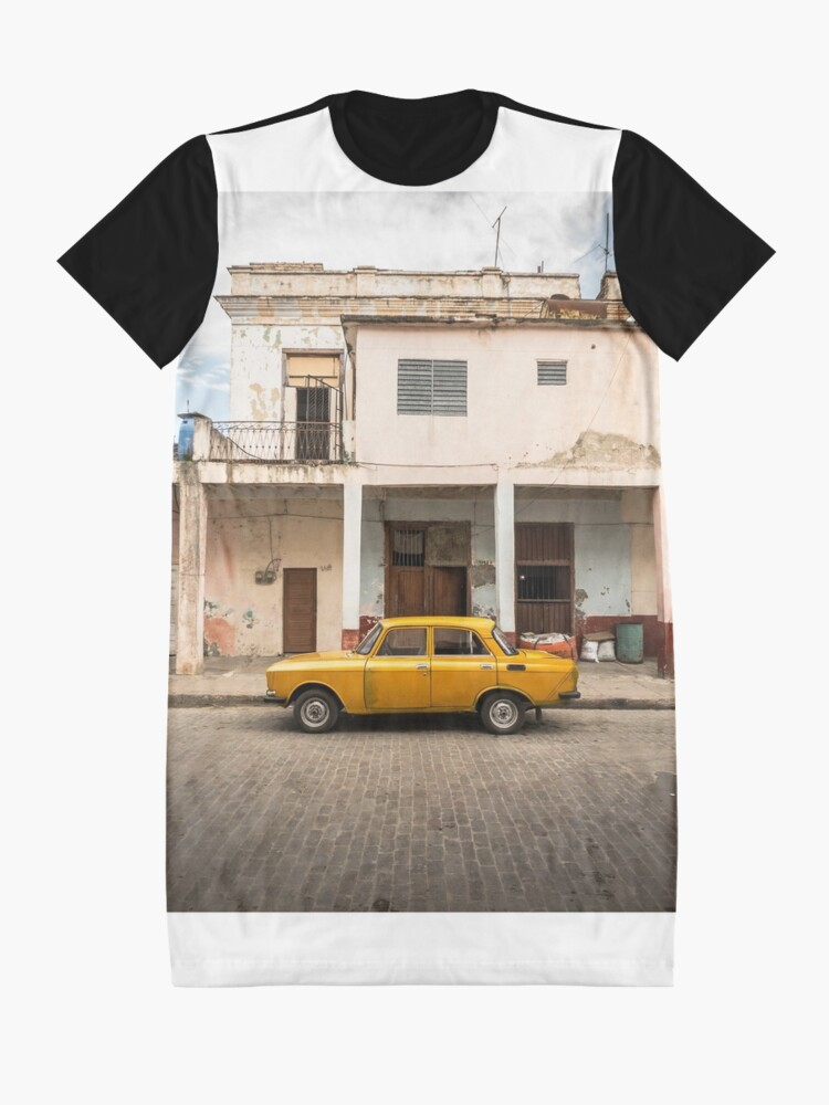 Alternate view of Bright yellow vintage car in La Havana, Cuba. Graphic T-Shirt Dress