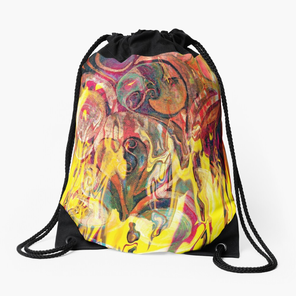 revealing fire abstract art Drawstring Bag
