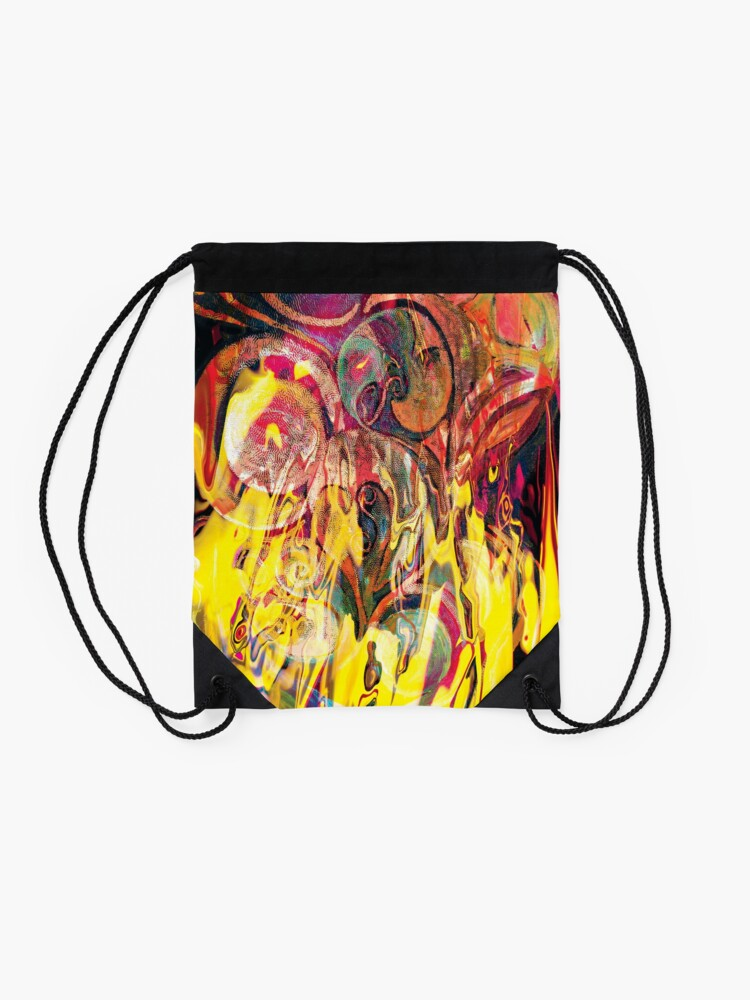 Alternate view of revealing fire abstract art Drawstring Bag