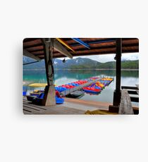 Colourful boats at lake Eibsee Canvas Print