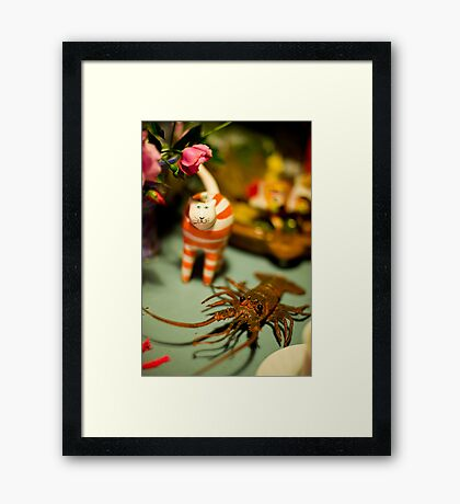 The Cat And The Lobster Were Not To Be Messed With Framed Print