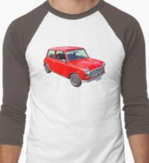 Red Mini Cooper Antique Car Men's Baseball ¾ T-Shirt