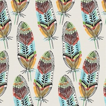 Boho Watercolor Tribal Feathers by CafePretzel