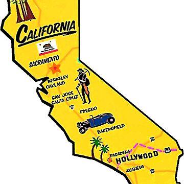 Touristische Karte von Kalifornien von Havocgirl