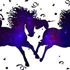 Galaxy Galloping Unicorns with Confetti Embellishment by Ladyfyre