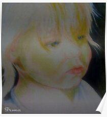 Study drawing of sad girl face Poster