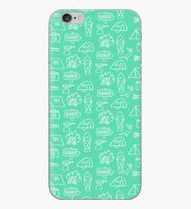 Camping Doodle Print Aqua iPhone Case
