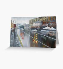Rainy Day - Wet street in Sydney Greeting Card