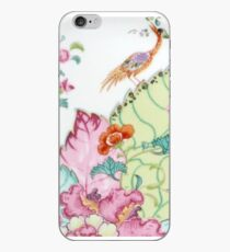 Vintage chinoiserie porcelain Asian crane and flowers antique floral china pattern print iPhone Case