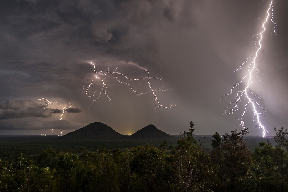 Lightning, Glasshouse Mountains by Andrew Goodall