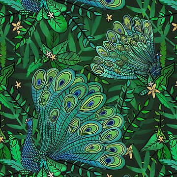 Peacocks in Teal Forest by latheandquill
