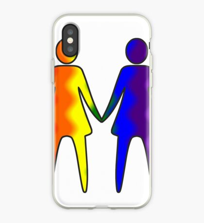 Wavy Rainbow Lesbian Couple #LGBT #Pride iPhone Case
