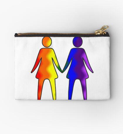 Wavy Rainbow Lesbian Couple #LGBT #Pride Studio Pouch