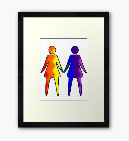 Wavy Rainbow Lesbian Couple #LGBT #Pride Framed Print