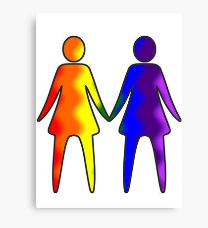 Wavy Rainbow Lesbian Couple #LGBT #Pride Canvas Print