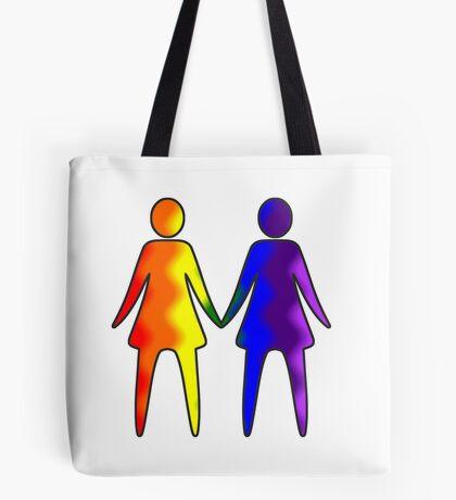 Wavy Rainbow Lesbian Couple #LGBT #Pride Tote Bag