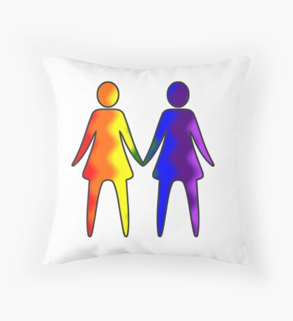 Wavy Rainbow Lesbian Couple #LGBT #Pride Throw Pillow
