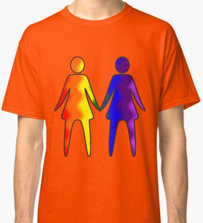 Wavy Rainbow Lesbian Couple #LGBT #Pride Classic T-Shirt